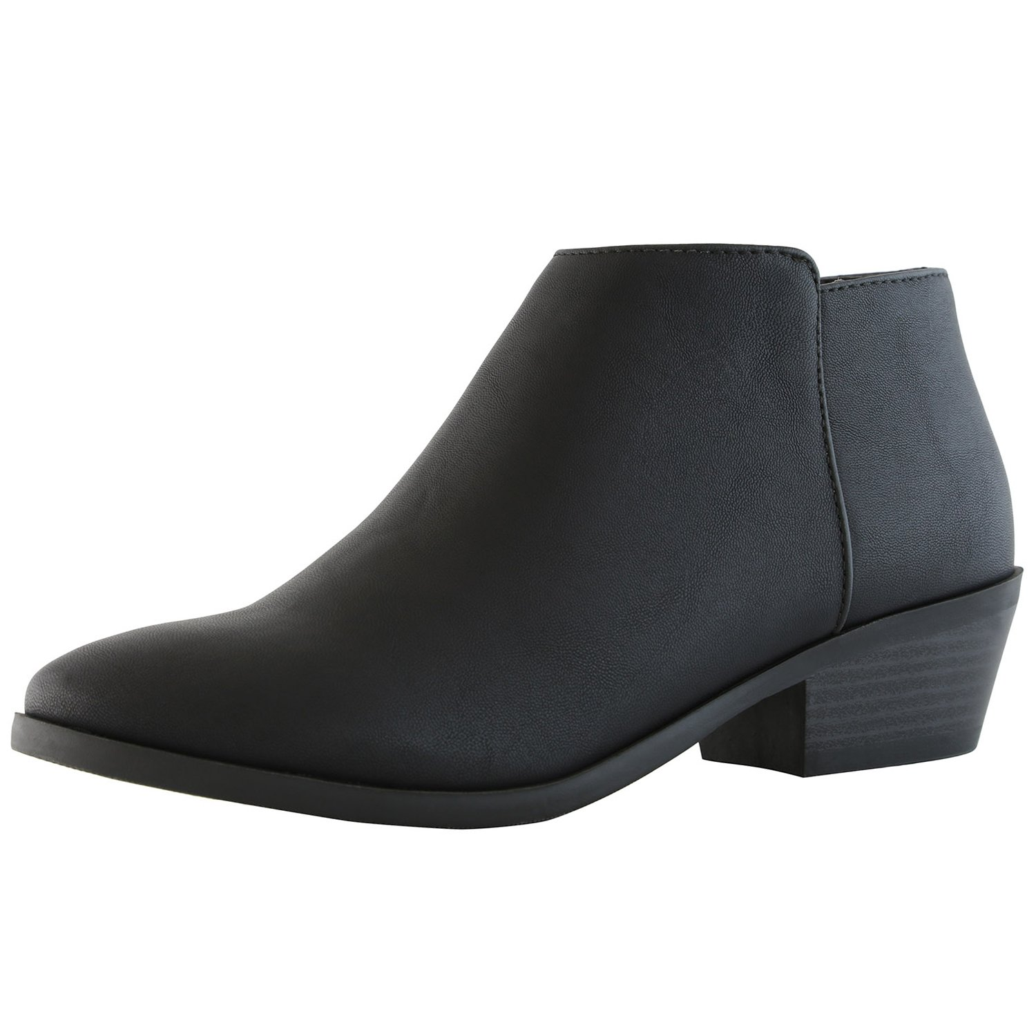 DailyShoes Women's Western Cowboy Bootie - Ultra Comfortable and Soft Lining Slip on Low Heel Cow Closed Pointed Toe Boot - Chunky Heel Stylish Ankle Boots for Any Occasion, Black PU, 5 B(M) US