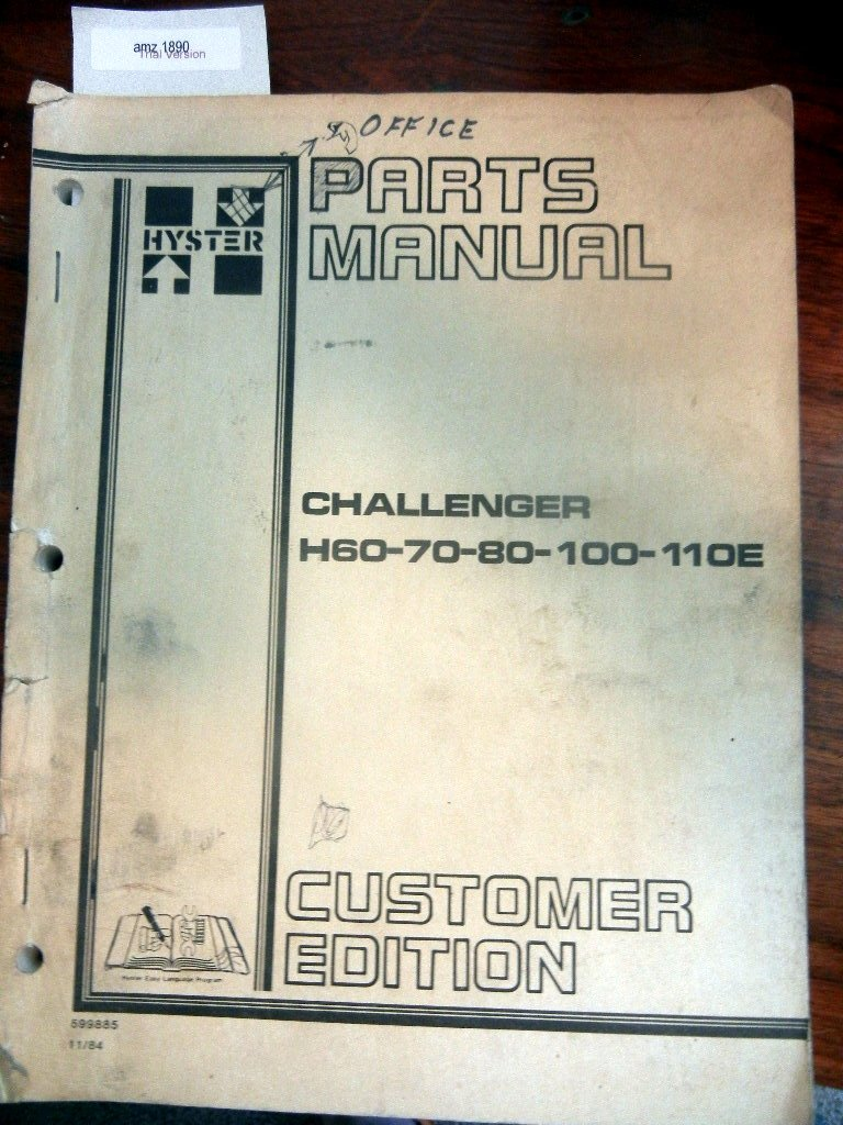 Hyster 70 Parts Diagram Explained Wiring Diagrams 60 Amazon Com Challenger H 80 100 110e Forklift Asv
