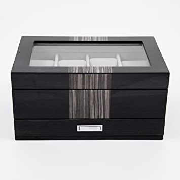 "Bey Berk Lacquered ""Wenge"" Wood 8 Watch Box with Glass Top, Drawer"