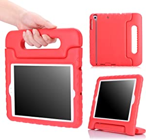 MoKo Case Fit iPad Mini 3/2/1, Kids Shock Proof Handle Light Weight Protective Stand Cover Fit iPad Mini 1 (2012), iPad Mini 2 (2013), iPad Mini 3 (2014), RED (Not fit iPad Mini 4)
