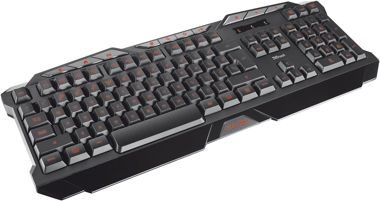 Trust GXT 280 Adjustable LED RGY Backlit Wired Gaming Keyboard, Programmable Keys, Black