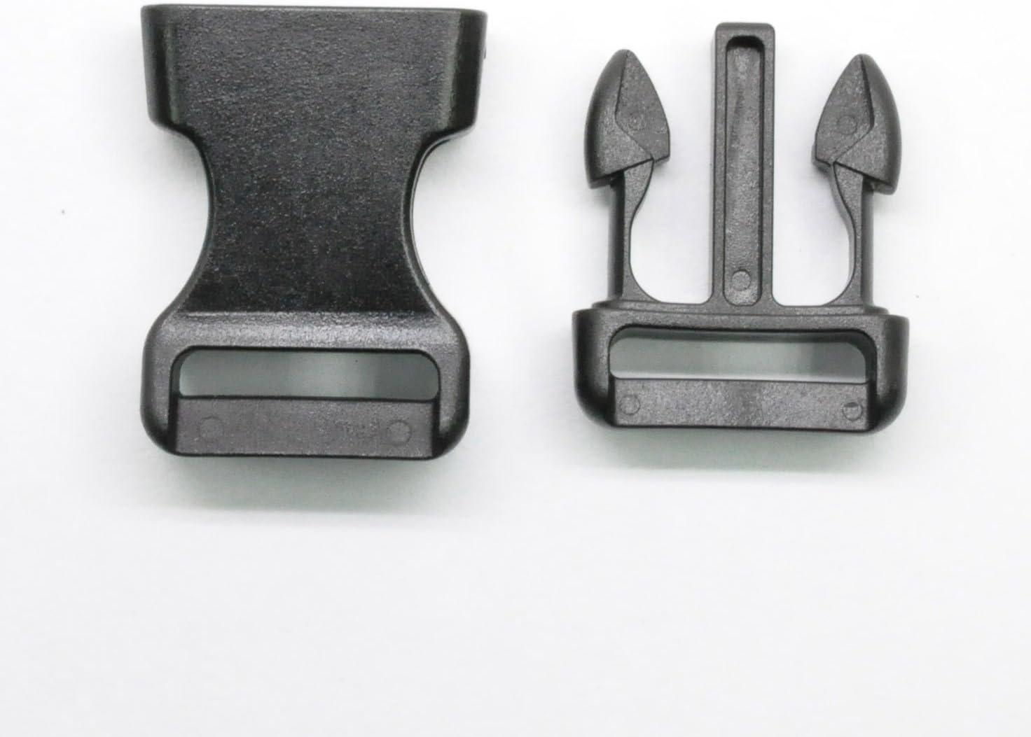 LIHAO 25 PCS 3//4 Boucle Plastique Clip Lat/éral Noir Contoured Release Buckle pour Sangle//Corde//Dog Collar