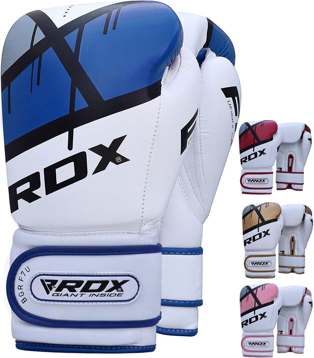 RDX Guantes de Boxeo para Entrenamiento y Muay Thai | Maya Hide Cuero Mitones para Kick Boxing, Sparring | Boxing Gloves para Combate Training, Saco Boxeo: Amazon.es: Deportes y aire libre