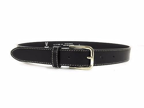 Brocard cinturón de mujer, de cuero negro, fabricado en Francia, a la moda y elegante