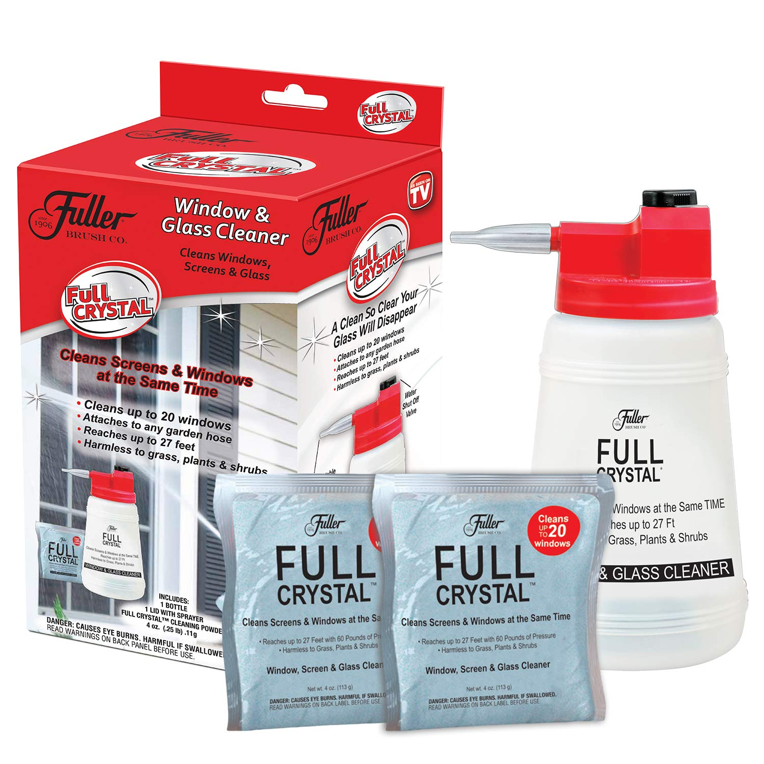 Full Crystal Kit - Bottle, Lid with Hose Attachment, and Two 4 oz. Crystal Powder Exterior Window Cleaner Packets for Glass and Screens (Cleans Up to 40 Windows)