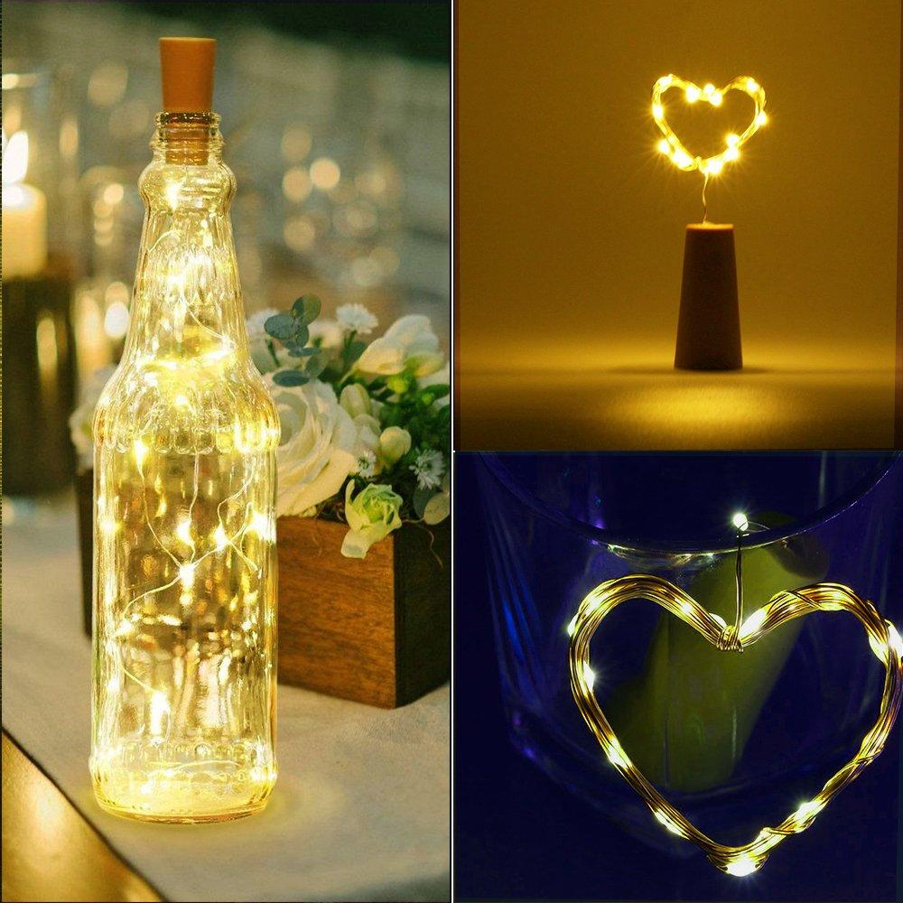 Vdealen - Luces con 20 bombillas LED de tono blanco en cable de cobre con tapón, para botellas de vino, perfectas para fiestas, decoración de Navidad, ...