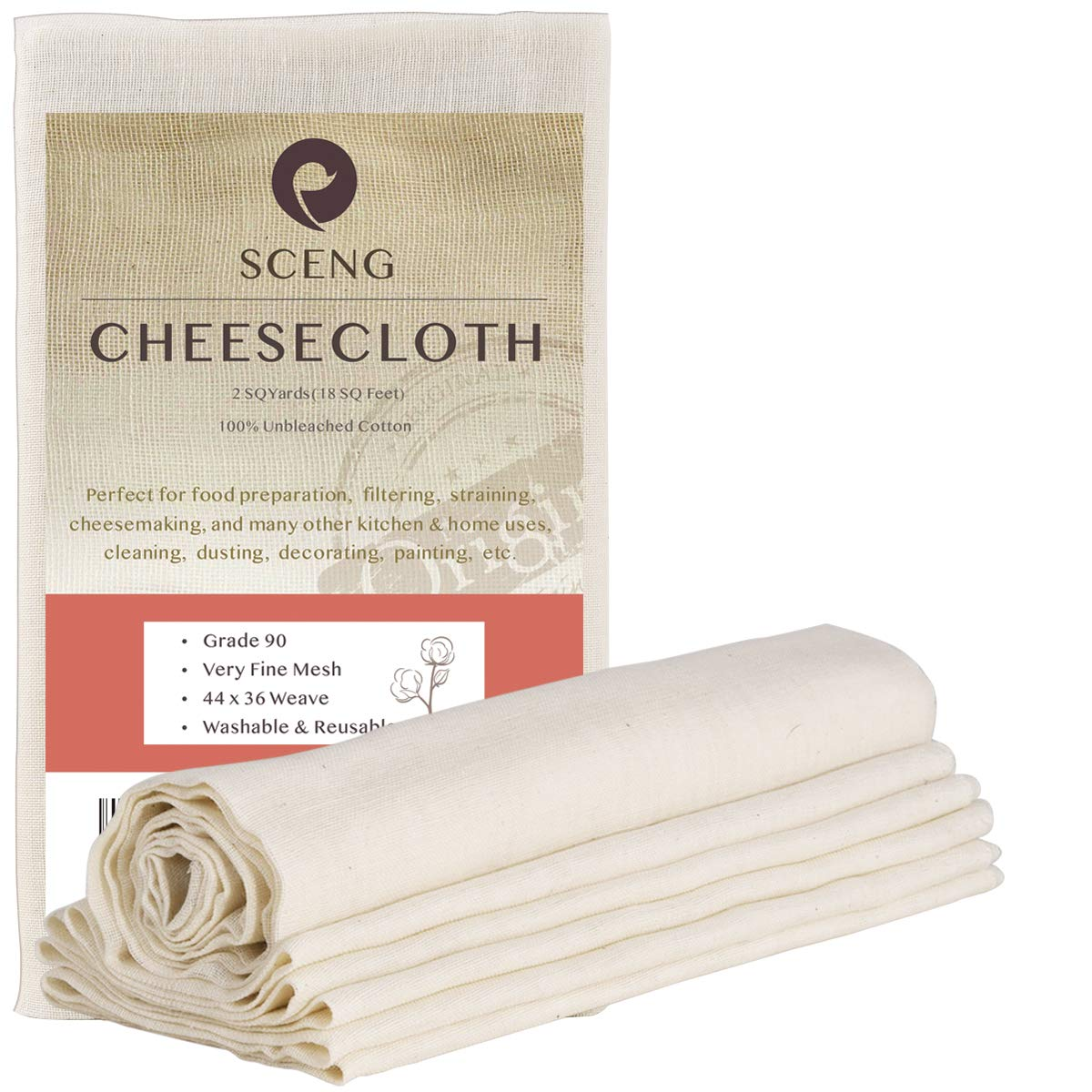 Cheesecloth, Grade 90, 18 Sq Feet, Reusable, 100% Unbleached Cotton Fabric, Ultra Fine Cheesecloth for Cooking-Nut Milk Bag, Strainer Filter (Grade 90-2 Yards)