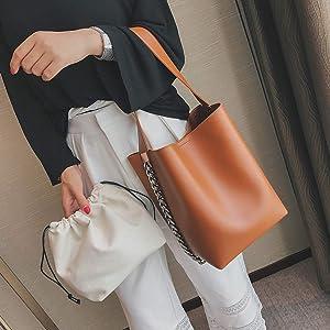 shoulder bag Large capacity Chain bucket Handbags Quality PU leather Womens