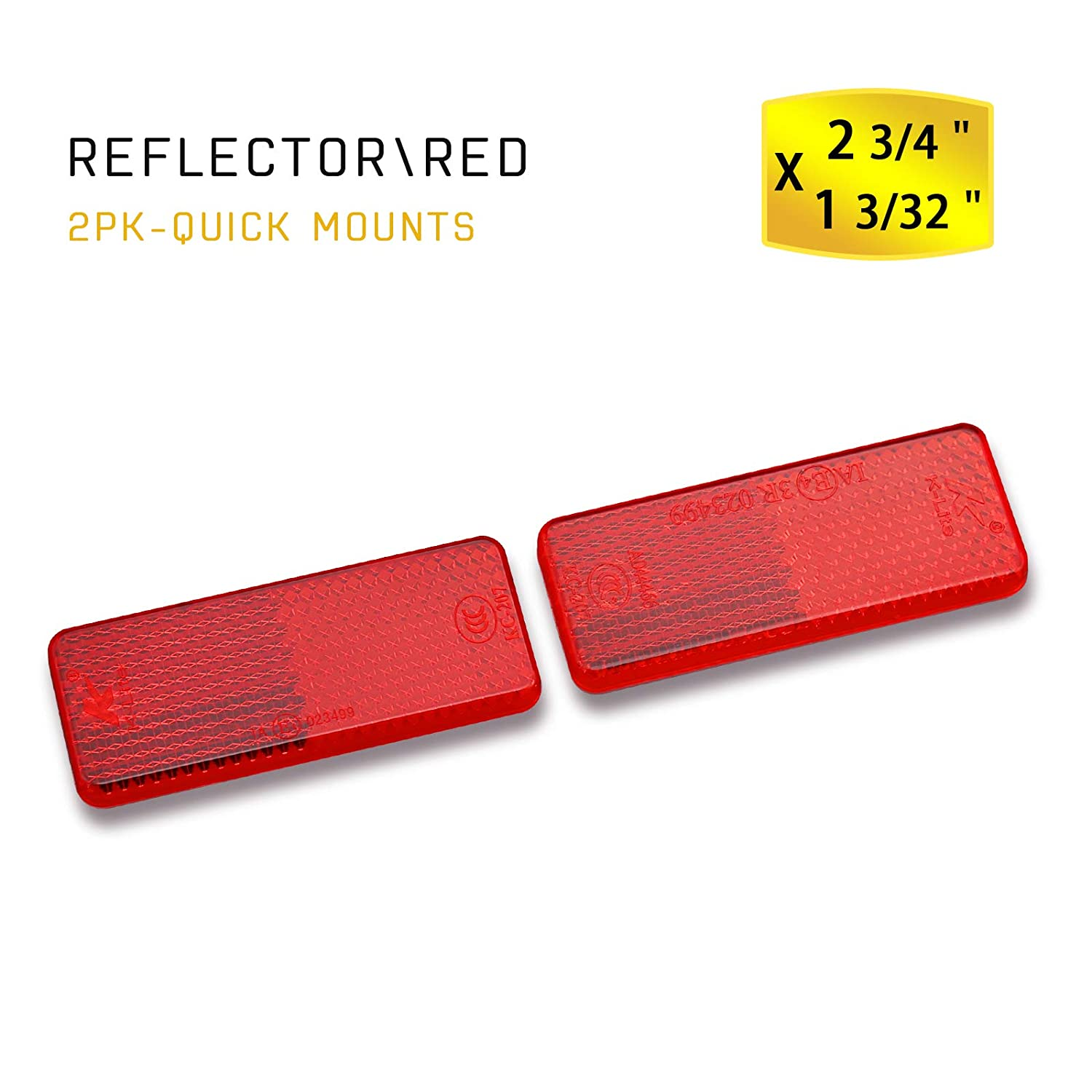 Yellow, 76x22mm MFC PRO Rectangular Safety Stick-on Reflector Truck Trailer Warning Reflective Plate for Car Caravan Lorry Bus