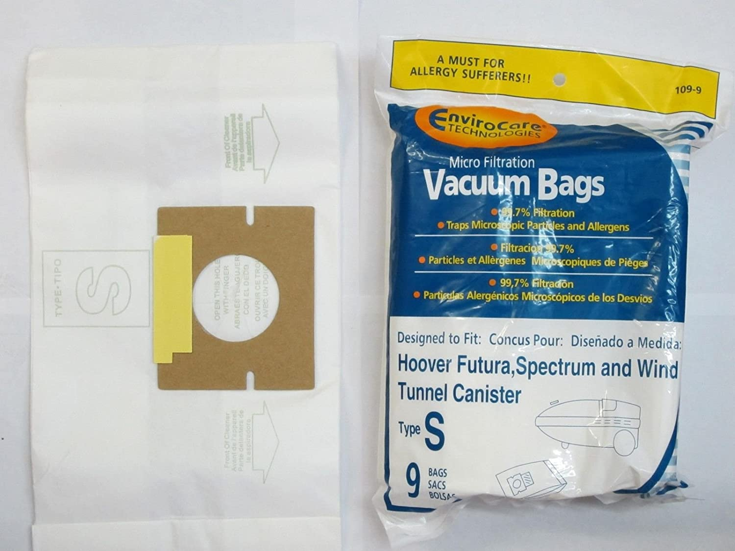 9 Allergen Bags Type S Replace 4010100S Fit Hoover Futura, Spectrum, PowerMaxk Windtunnel Canister