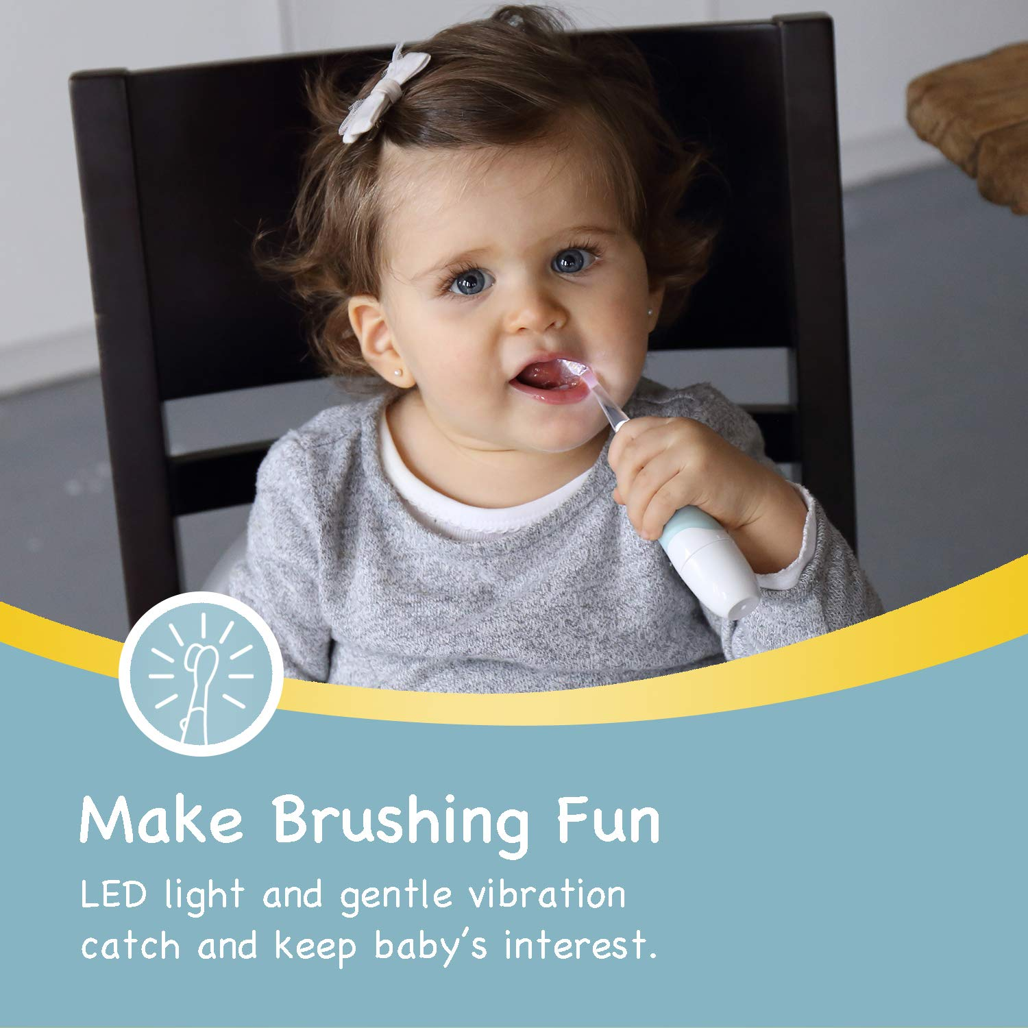 Papablic BabyHandy 2-Stage Sonic Electric Toothbrush for Babies and Toddlers Ages 0-3 Years by Papablic (Image #2)