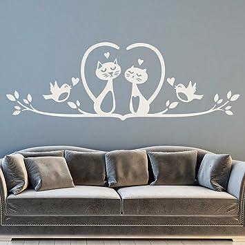 tjapalo® W-pkm120 Wandtattoo Schlafzimmer Aufkleber Wand Wandbild Katzen  liebende Kätzchen auf Ast Wandsticker (B 58 x H 20cm)