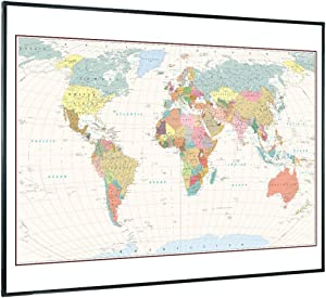 Lockways Magnetic Dry Erase Geographic World Map - Framed Décor Map Whiteboard/White Board 48 x 36 Inch, Ultra-Slim Black Aluminium Frame for School Home Office