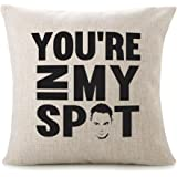 """CHICCAT Cotton Linen Throw Pillow Case - """"YOU'RE IN My SPOT"""" Home Decor Wedding Gift Engagement Present Housewarming Gift Cushion Cover 18 X 18"""