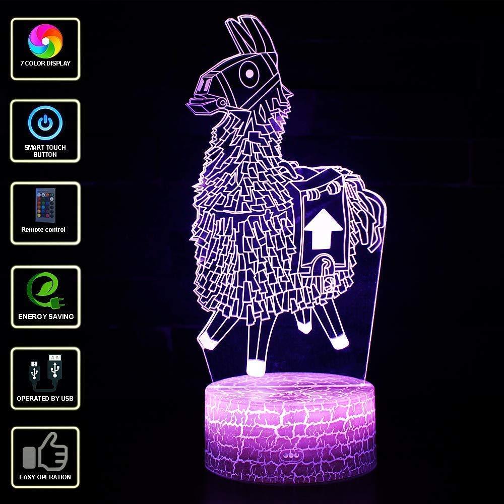 T-MIX 7 colores LED L/ámpara de mesa t/áctil con control remoto para ni/ños Cumplea/ños Navidad Regalo de San Valent/ín Color-B 3D Visual l/ámpara