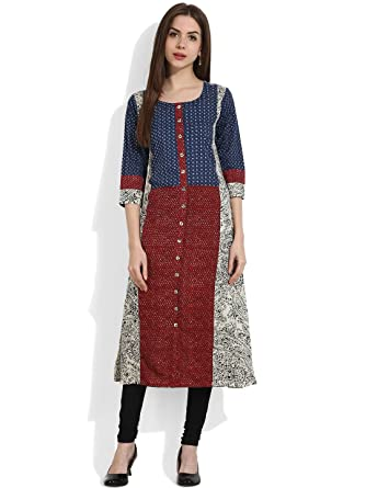 4e3ff593f9fbc Amazon.com  Hiral Designer Pure Cotton Indian women kurta Kurtis Designer  Printed Tunic Top Clothing  Clothing