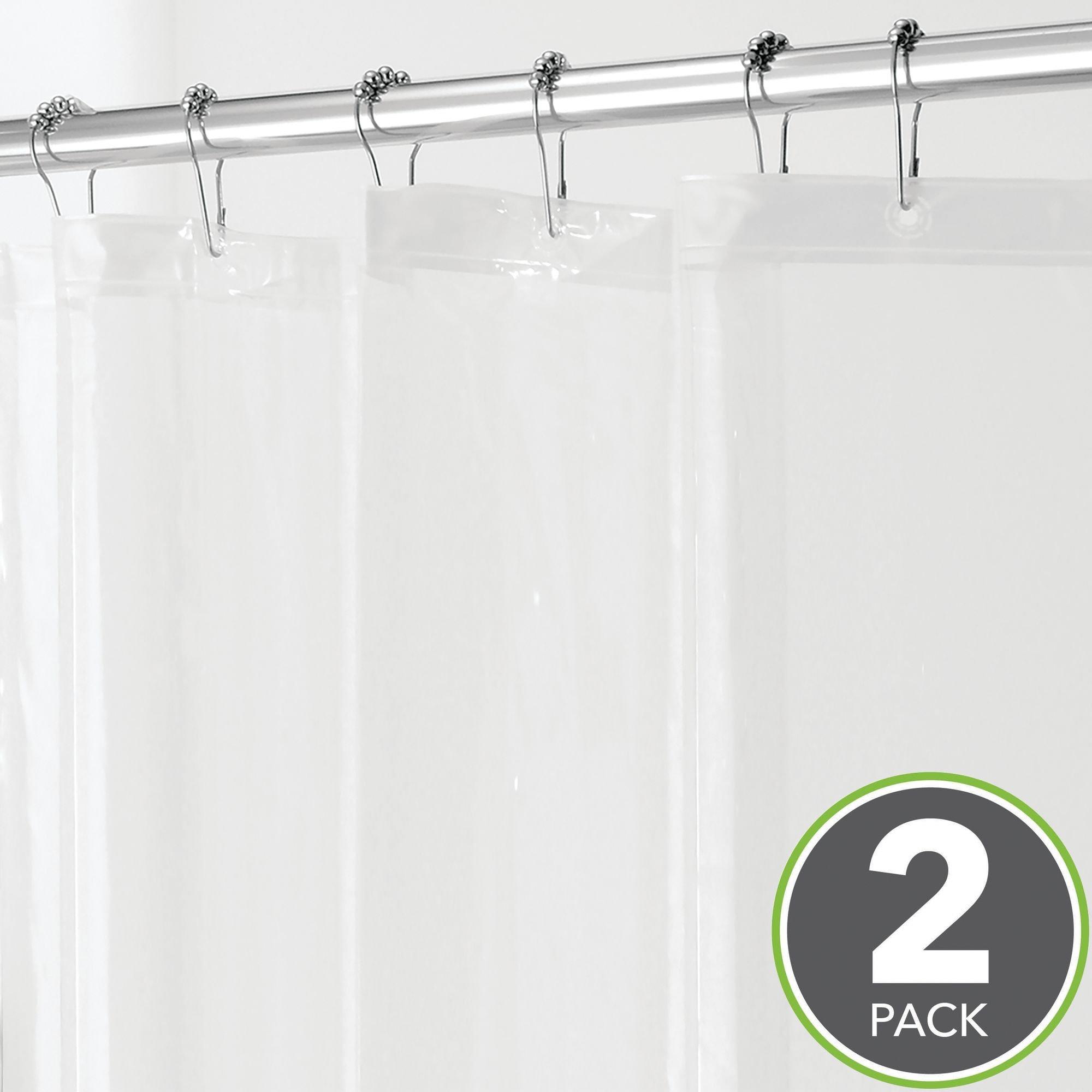"mDesign Waterproof, Mold/Mildew Resistant, Heavy Duty PEVA Shower Curtain Liner for Bathroom Showers and Bathtubs - No Odor, Chlorine Free - 3 Gauge, 72"" x 72"", Pack of 2, Clear"