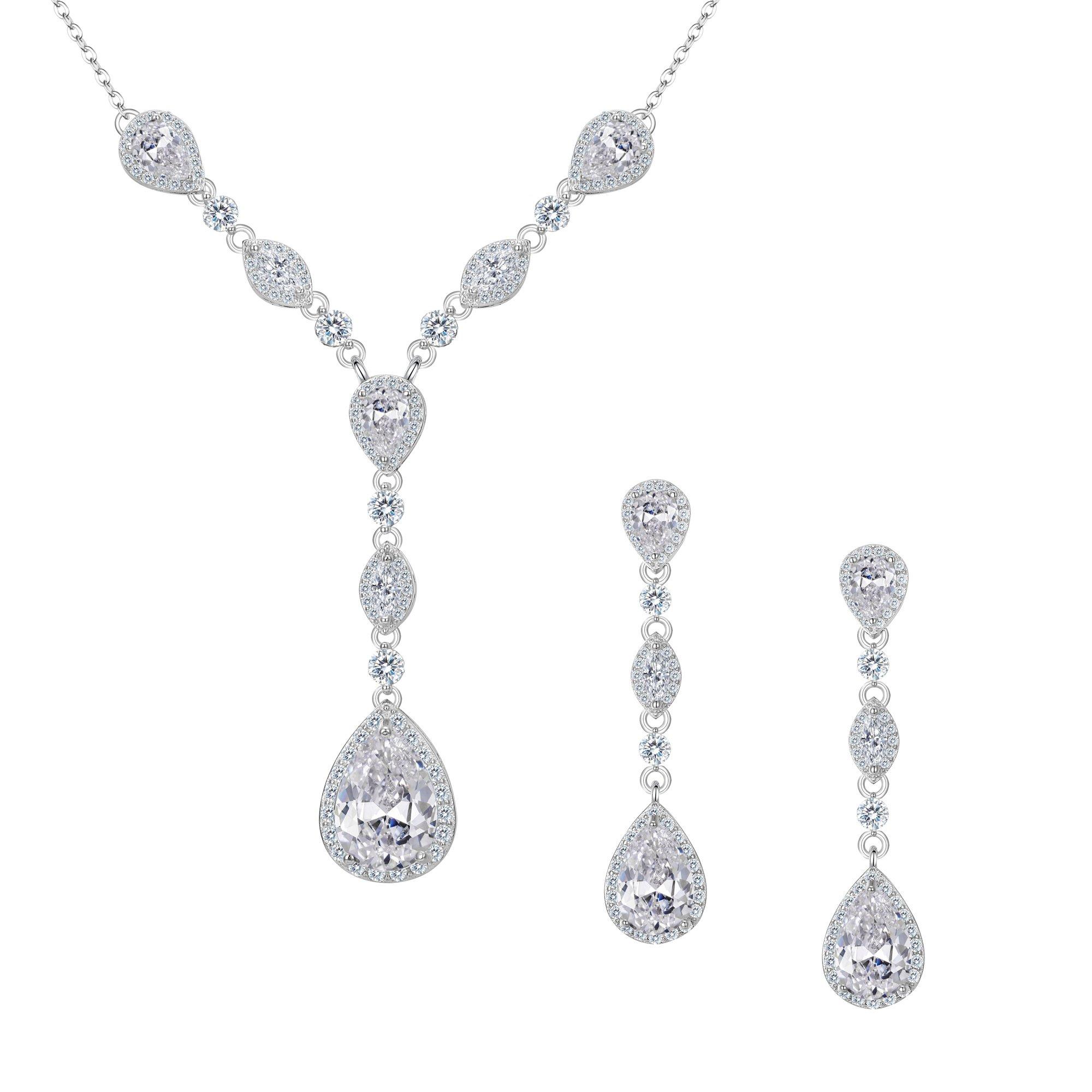 FANZE Women's Full Prong Cubic Zirconia Teardrop Pear Shape Y Necklace Pierced Earrings Wedding Jewelry Set Silver-Tone