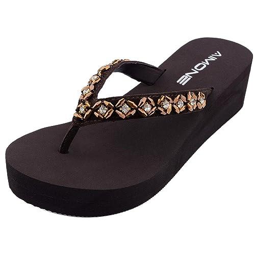 AIMONE Womens Habib Flower Crystal Mid Heel Flip Flop Sandals