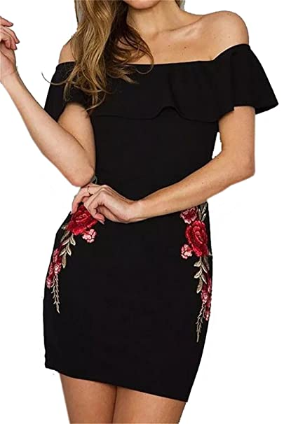 a73e432921f2 Zago Women s Off Shoulder Ruffled Floral Embroidery Bodycon Mini Dress at  Amazon Women s Clothing store