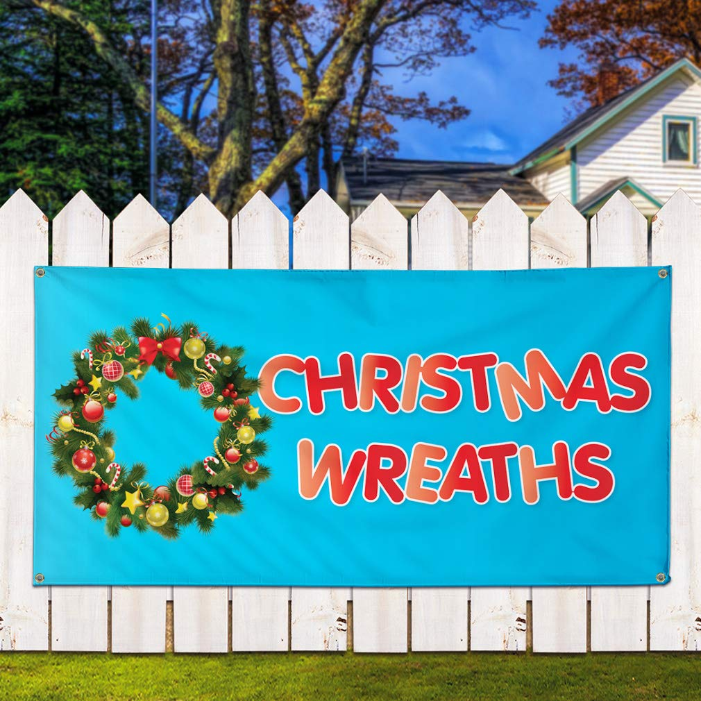 Multiple Sizes Available 4 Grommets 24inx60in Vinyl Banner Sign Christmas Wreaths #1 Holidays and Occasions Marketing Advertising Red Set of 3