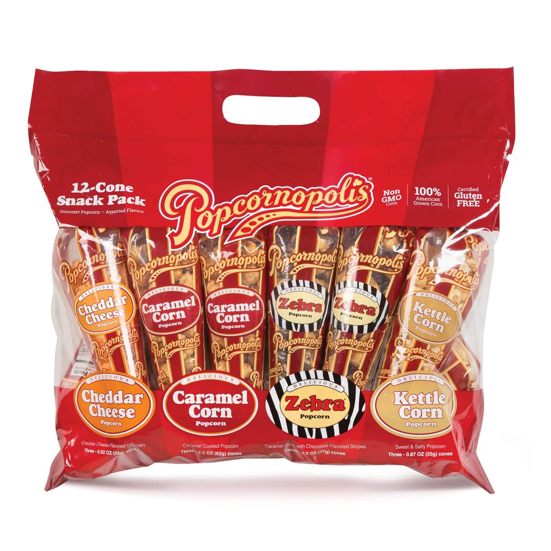 Popcornopolis Popcorn 12 Cone Snack Pack (Gift cone) by Popcornopolis