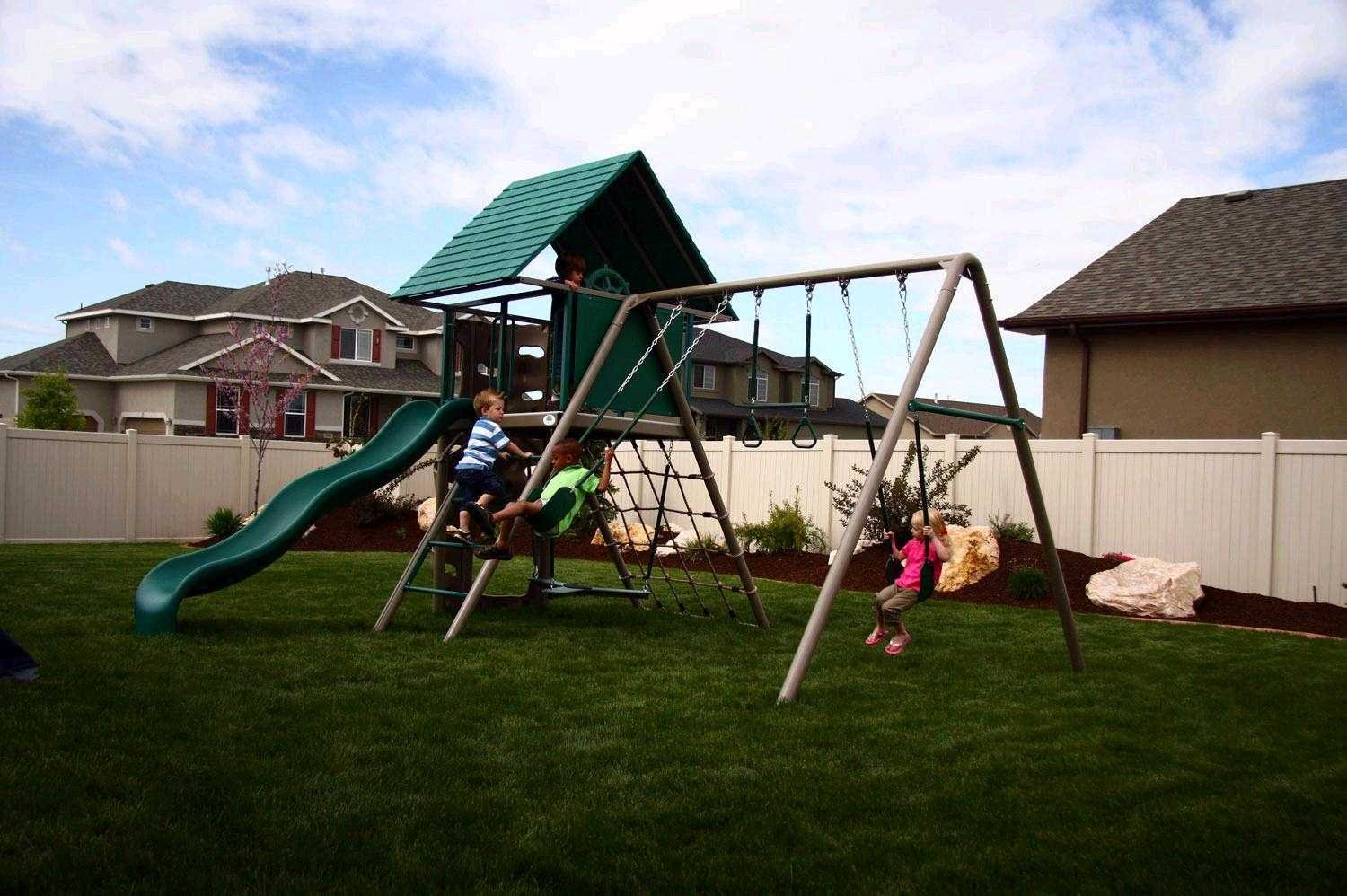 grass set ideas interesting backyard wooden for clearance spread your lowes sets outdoor plus with lifetime exterior landscape swing