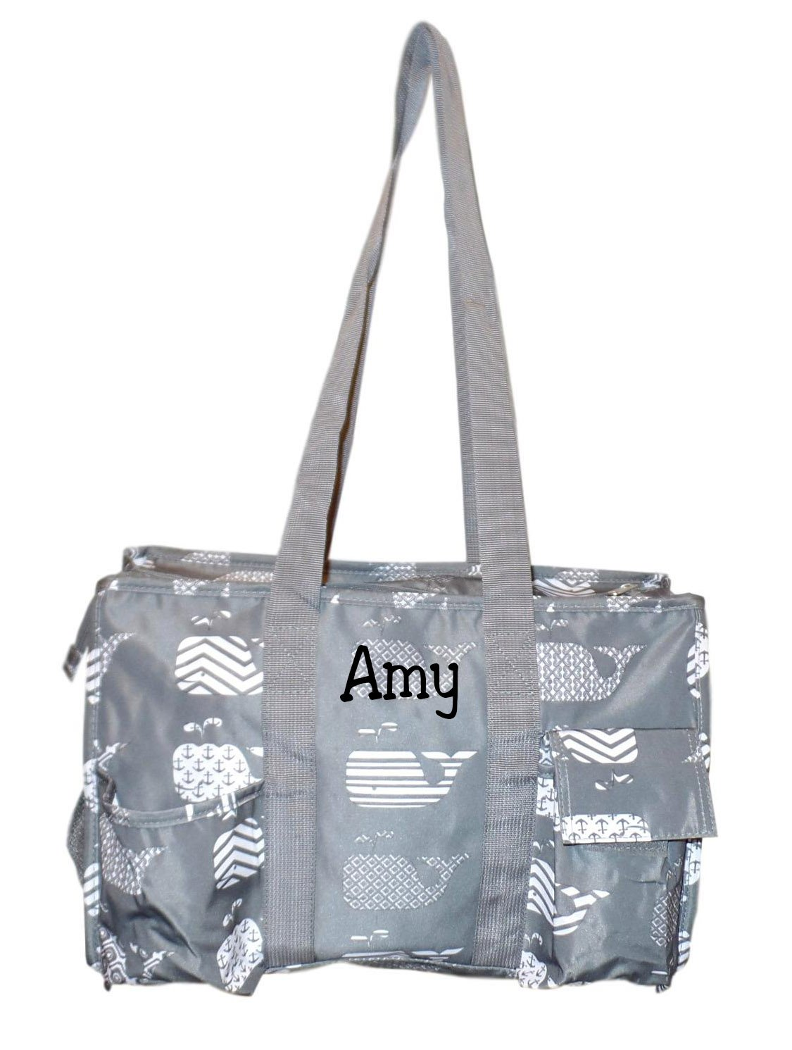 Fashionable Zipper Top Organizing Beach Bag Tote Diaper Bag Weekender (Gray Whale - Embroidered Whale)