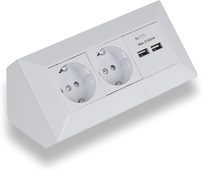 Eck-Steckdose Aufbaumontage 200x Schuko, 200x USB für Küche, Büro