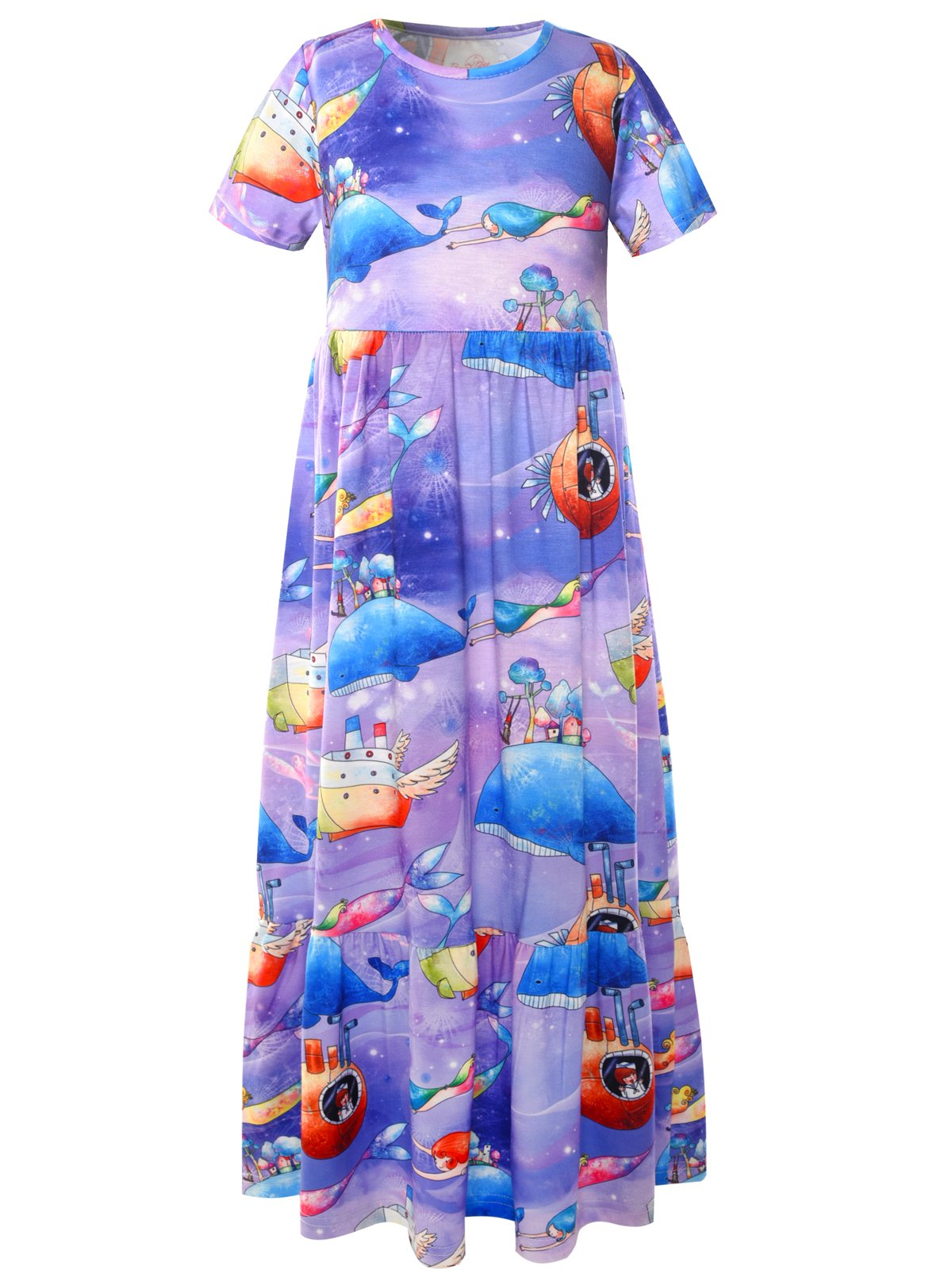 Bonny Billy Girls Maxi Dress Sea Mermaid Printing Long Dress for Kids 10-12 Whale