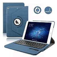 iPad 9.7 2017/2018 Tastiera Custodia, Dingrich Bluetooth Wireless QWERTY Tastiera Custodia Case Per iPad 9.7 rilasciato in 2017/2018 rimovibile 360°Ruotare Cover Ultra-Sottile USB Tastiera Con Avanzate PU Pelle Custodia Per Nuovo iPad 9.7 inch 2017/2018 + Proteggi schermo HD + penna stilografica, Tastiera Cover Case Custodia per Apple iPad 9.7 2017/2018