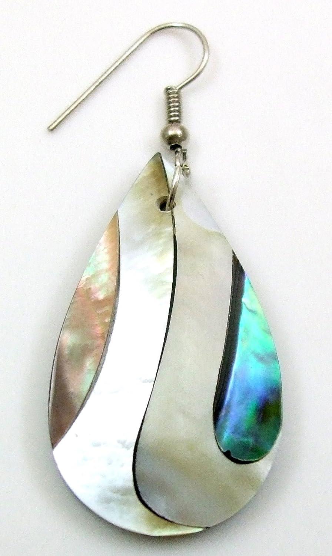 FA267 Boucles doreilles pendantes faites /à la main en nacre de paua//ormeau 5,6 cm