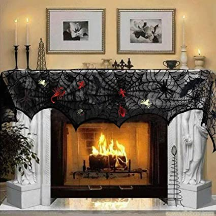 Stupendous U Goforst 18X96 Inch Black Lace Spiderweb Fireplace Cover 44 Pieces Plastic Realistic Bugs White Stretch Spider Web For Halloween Party Mantle Scarf Download Free Architecture Designs Lukepmadebymaigaardcom