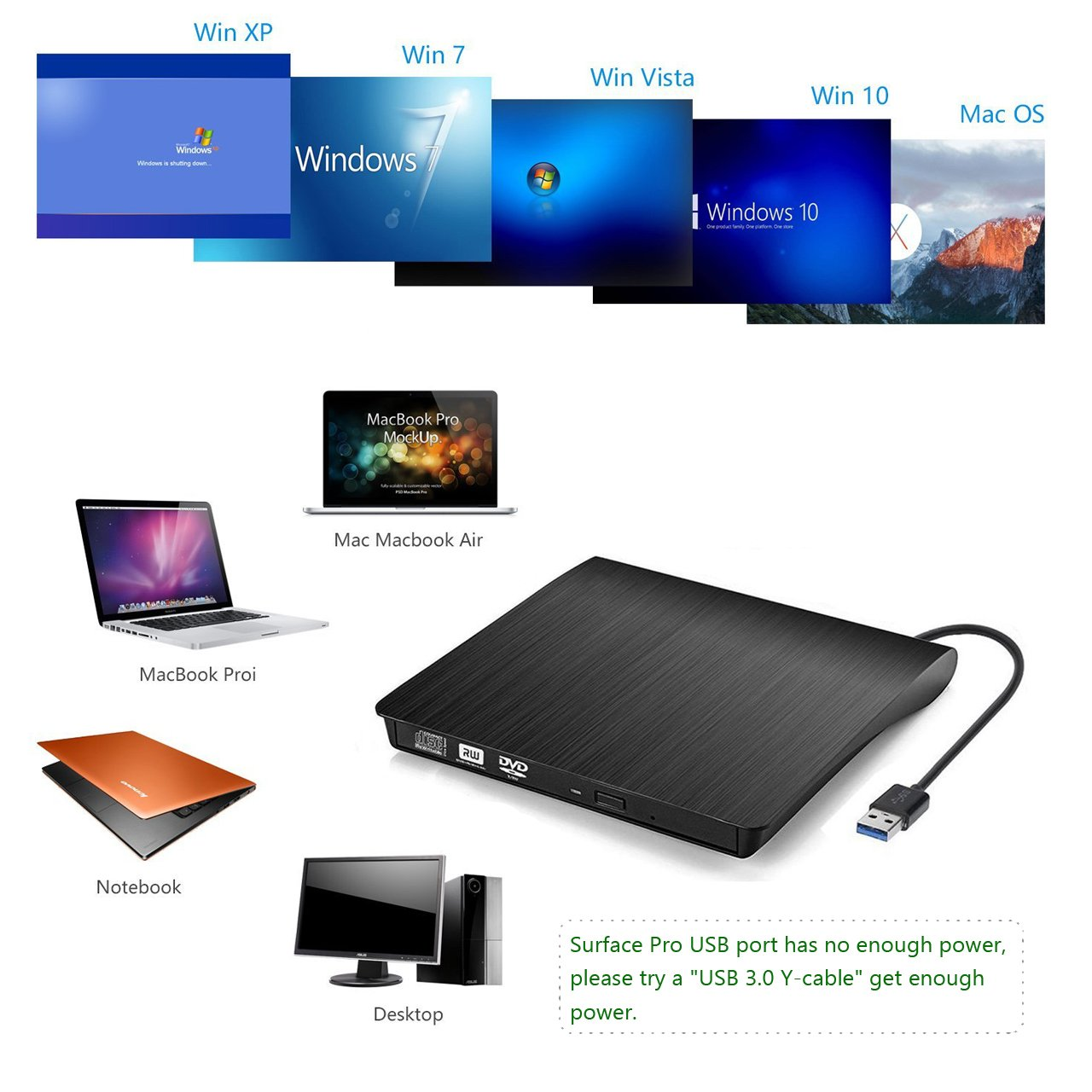 External CD Drive, Devancy Ultra-Slim USB 3.0 External DVD Drive, CD/DVD-RW Drive, DVD/CD Rom Rewriter Burner Writer, High Speed Data Transfer for Laptop Desktops Win 7, 8, 10, Mac OS and Linux OS by Devancy (Image #5)