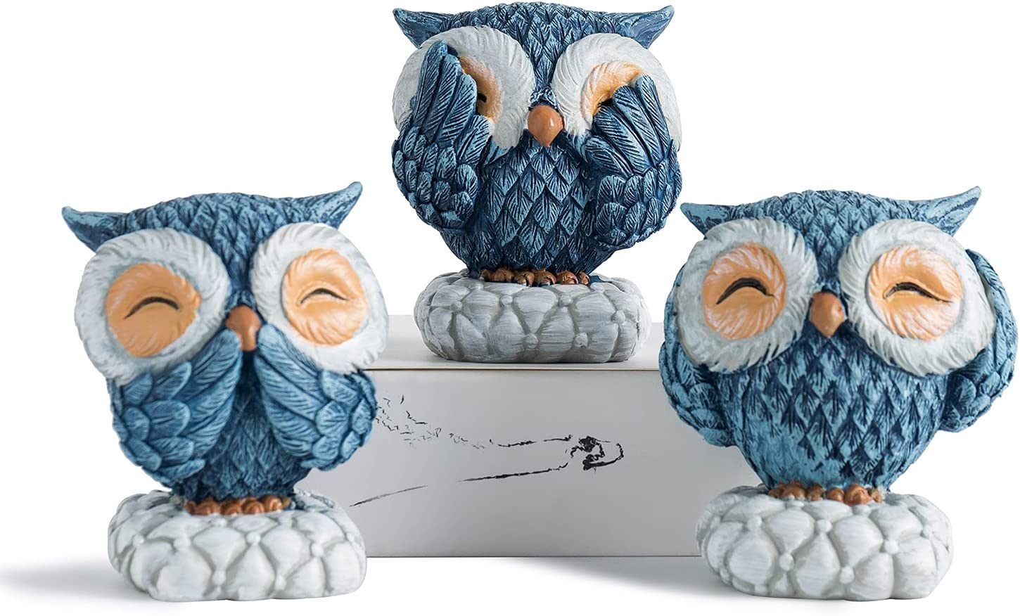FJS Very Cute Owl Statue Resin Blue Owl Figurine Set of 3, Nice Decoration for Living Room Bedroom Office Book Shelf TV Stand Decor Gifts for Birds Lovers