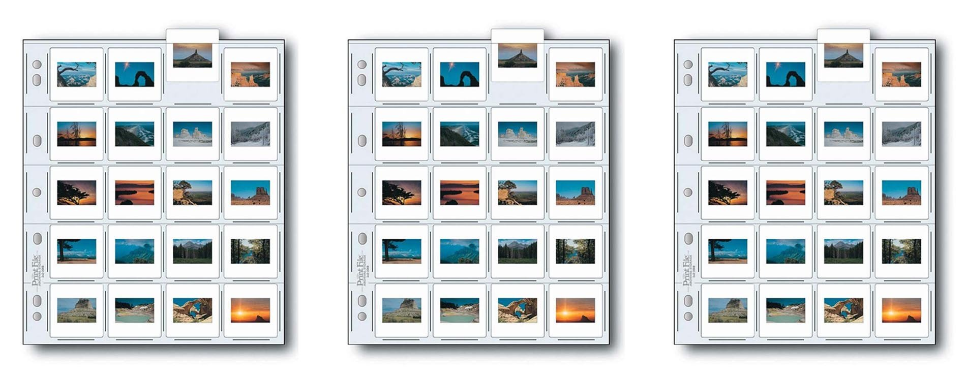 Print File 2x2-20B Archival Storage Page for 20 Slides - 25PC - 050-0270 3pack