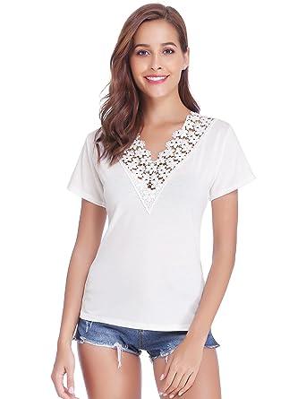 d7b11d7802a4d Tee Shirt Femme Dentelle Col V Manches Courtes Haut Femme Chic Été Élégant  Sexy T Shirt