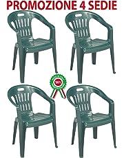 PROGARDEN Diva 4 Pz Poltrona Sedia Piona in Dura Resina di plastica Verde impilabile con braccioli per casa Giardino Bar sagra Campeggio