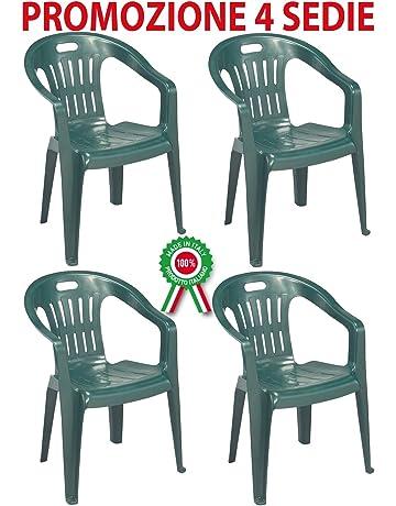 Poltroncine In Plastica Da Giardino.Sedie Per Tavolo Da Giardino Giardino E Giardinaggio Amazon It