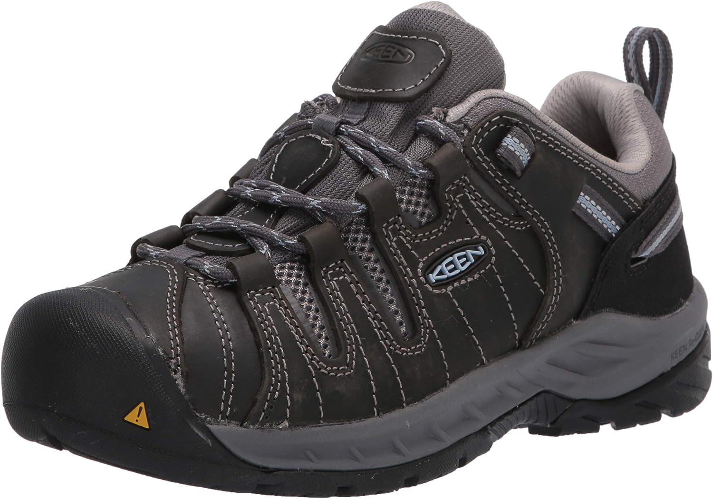 KEEN Utility Women's Flint 2 Low Soft Toe Non Slip Work Shoe, Steel Grey/Paloma, 9 Medium US