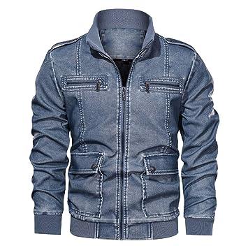 ZODOF Jacket Chaqueta de Cuero de Cuello Alto sin Sombrero ...