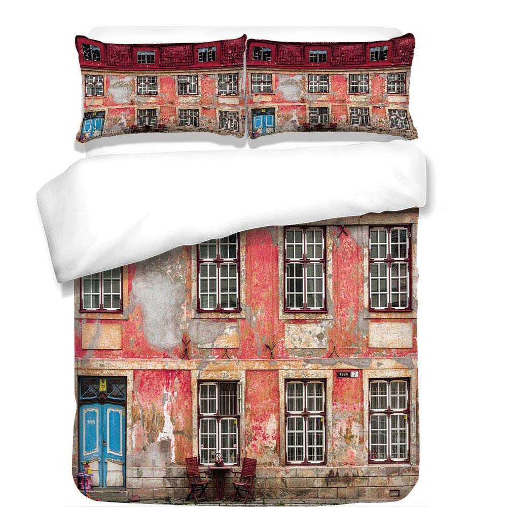 3Pcs Duvet Cover Set,Urban,Old Aged Building in Ancient City Tallinn Estonia Antique Structure Windows Decorative,Ruby Pink Sky Blue,Best Bedding Gifts for Family/Friends