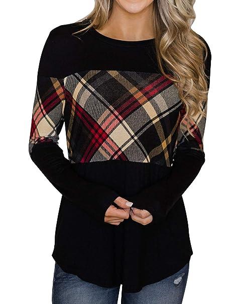 c8ef21a42 ZJP Women Round Neck Color Block Plaid Spliced Long Sleeve Shirt Tops  Blouse Tee Black