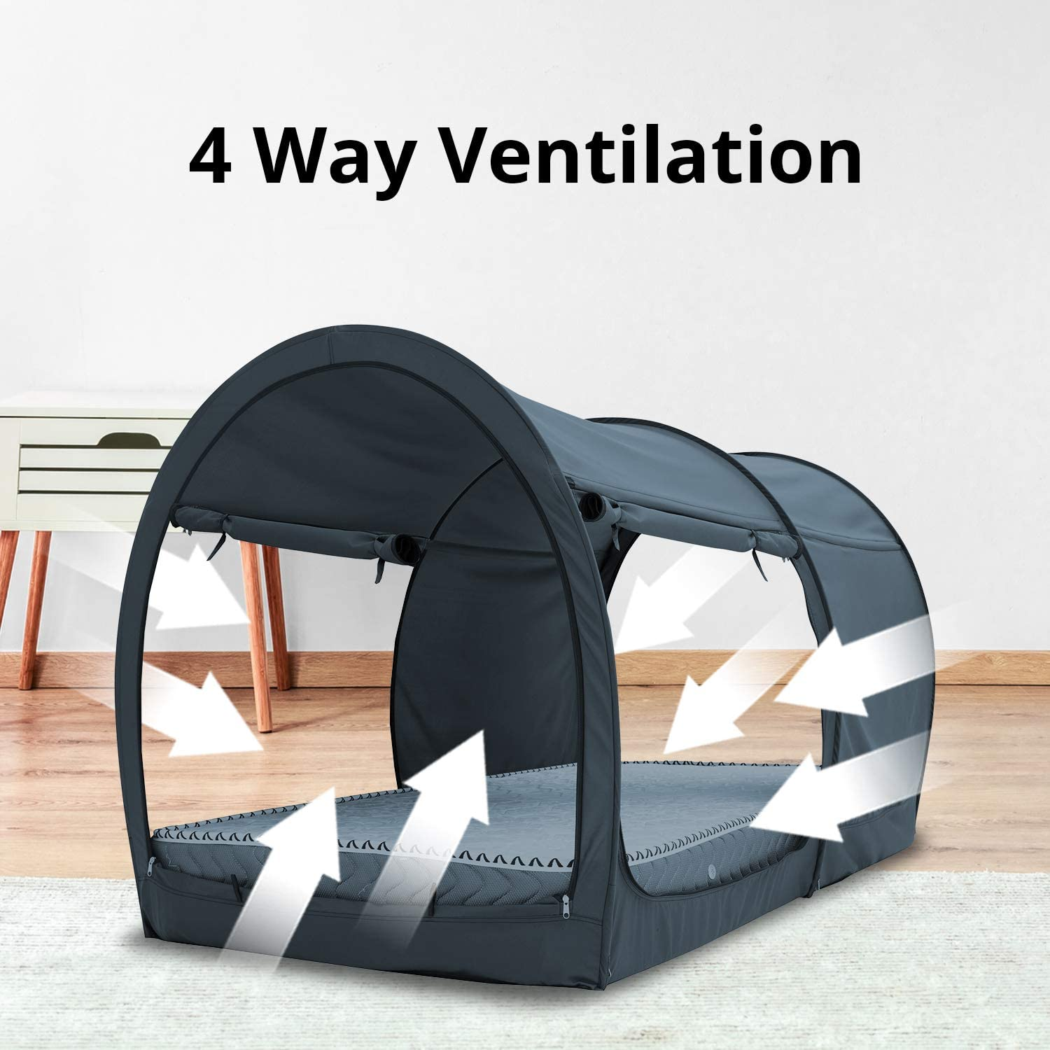 Dark Gray Leedor Dream Tents Bed Canopy Shelter Cabin Indoor Privacy Pop Up Warm Breathable Queen Size for Kids and Adult Patent Pending Mattress Not Included Full