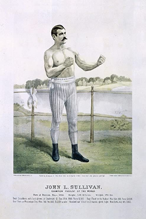 Amazon.com: John L Sullivan (artist: Cameron) USA c. 1883 - Vintage Advertisement (9x12 Fine Art Print, Home Wall Decor Artwork Poster): Posters & Prints