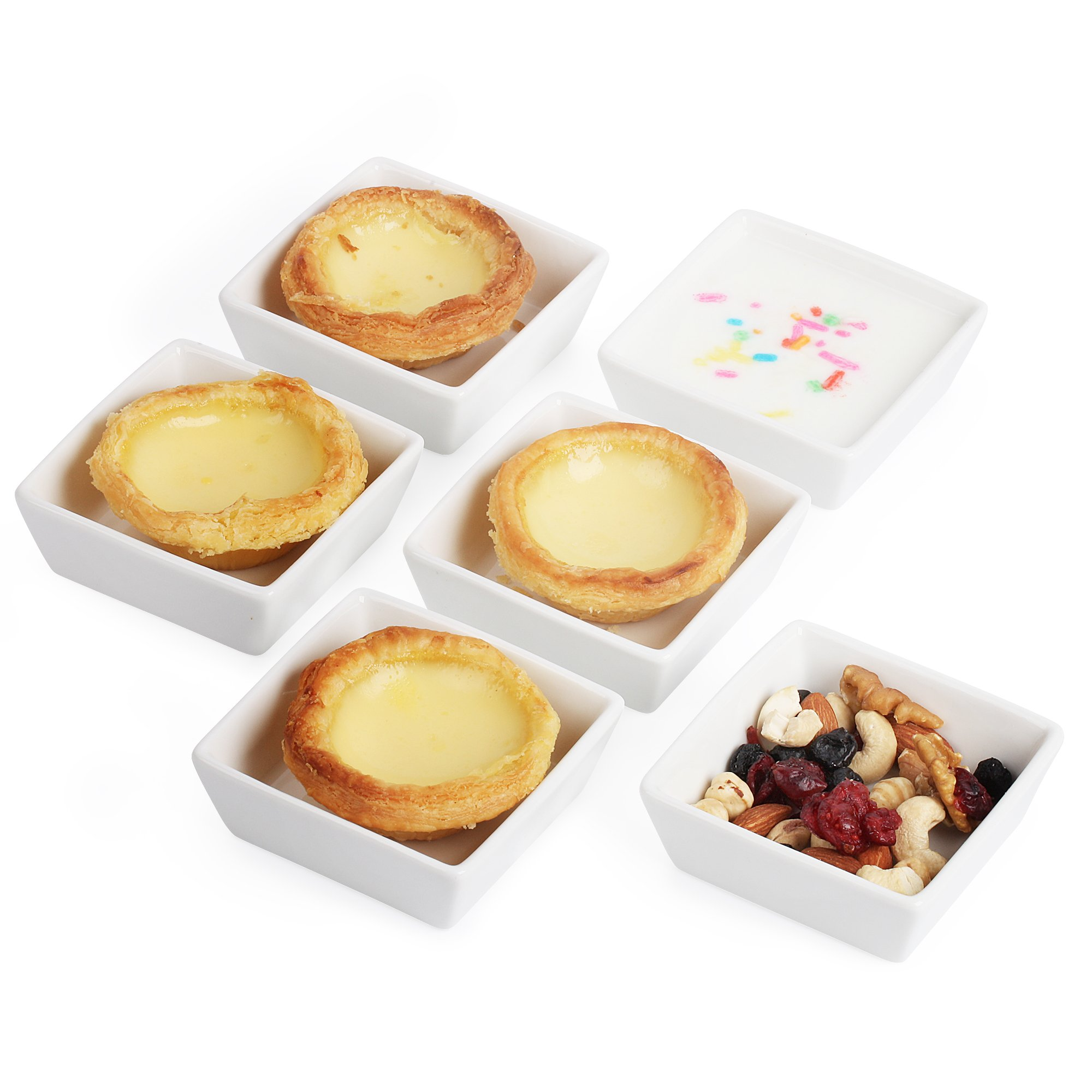 BTäT- Ramekins 4 oz Square, Set of 6 Ramekins for Baking, Creme Brulee Dishes, Souffle Cups, Flan Pan, Sauce Cups, Custard Cups, Pudding Cups, Desert Bowls, Dipping Bowls, Baking Bowls, Small Ramekins by Brew To A Tea (Image #4)