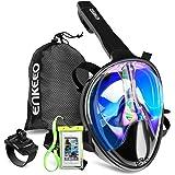 Enkeeo - UV 400 Máscara de Buceo para Snorkel con 180° Vista Panorámica, Estanca y Antiniebla (Caso de Telefono Impermeable y Pulsera Compatible con GoPro)