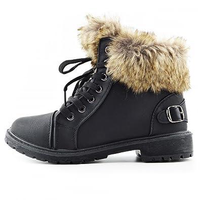 Kick Footwear Womens Lace Up Hiker Stiefeletten Kunstfell Gefüttert-Midi-Stiefel-Winter-Warm-Grip-Sohle - UK 3/EU 36, Grau