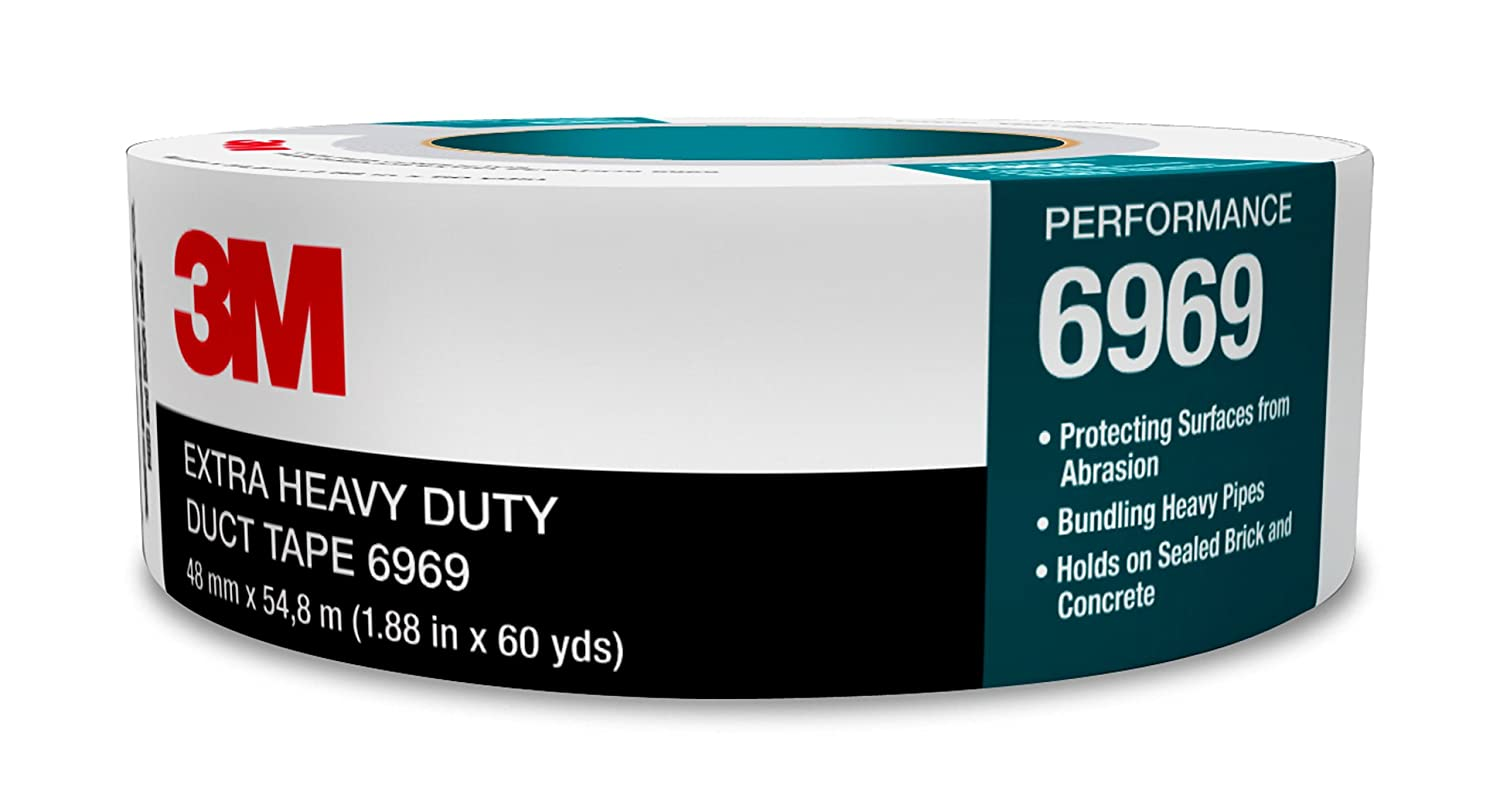 Image of 3M Extra Heavy Duty Duct Tape 6969, Silver, 72 mm x 54.8 m, 10.7 mil, 12 per case Home Improvements