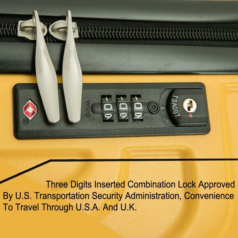 PC Rigide L/égere 4 Roue de qualit/é sup/érieure avec serrure TSA int/égr/ée OM HOME Valise Bagage Moyenne 24-pouces ABS